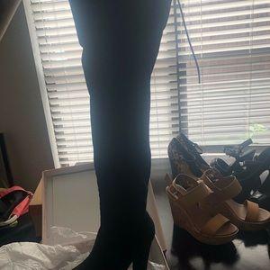 NEW IN BOX thigh-high velvet boots - NEVER WORN